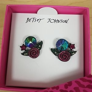 Betsey Johnson rose and gem cluster black detail